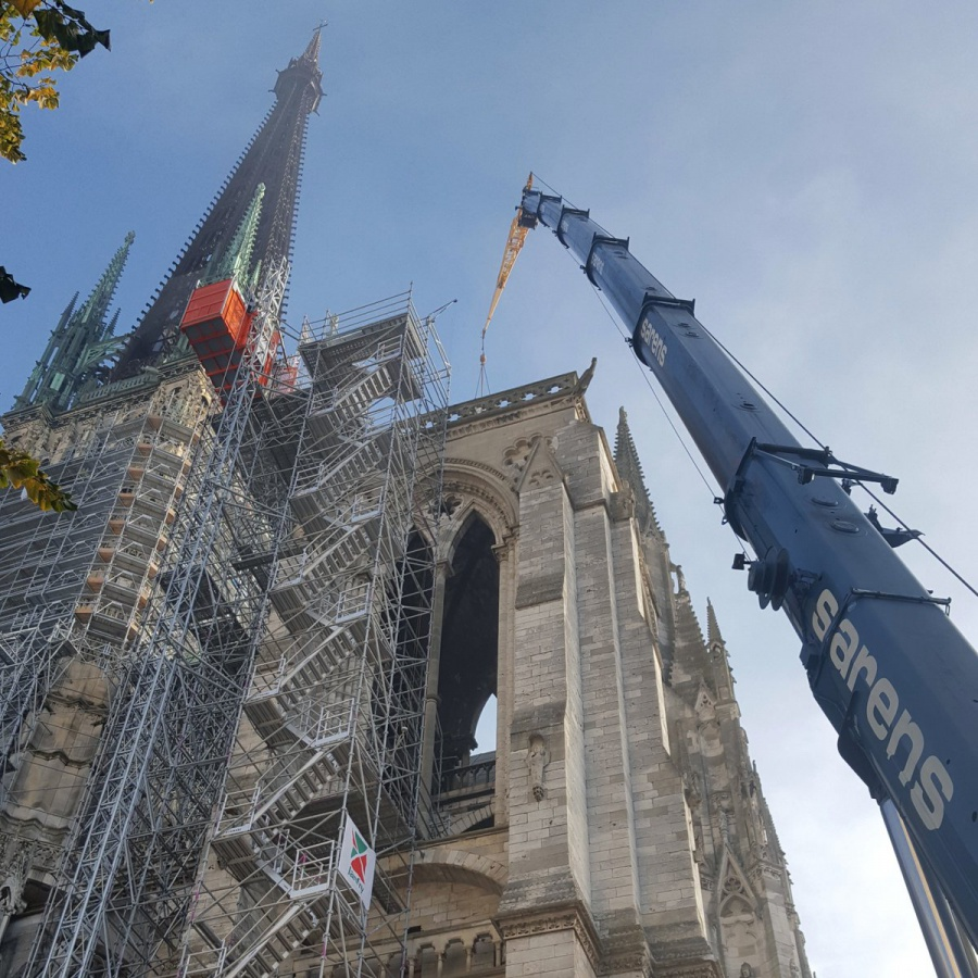 Restoring the Highest Church Spire in France Rouen with the help of Sarens